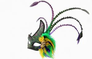 China Mini Green Colombina Feather Masquerade Masks For Masquerade Balls on sale