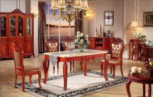 China Classic Solid Wood Marble Top Dining Table Set on sale
