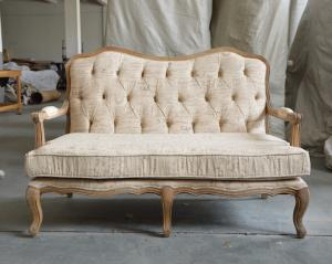 China Vintage Retro French Provincial Linen Upholstery 2 Seat Solid Wood Armchair on sale