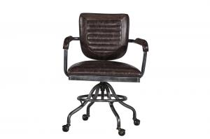 China Vintage Brown Leather Office Desk Chair Small Space Swivel Wheel Legs Durable Iron Frame on sale