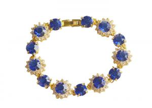 China Charm Link 925 Sterling Silver Bangle Bracelets Blue Ziron And Crystal Gold Jewellery on sale