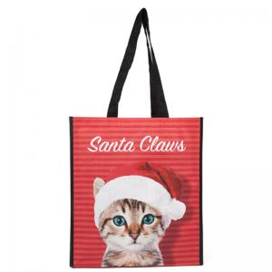 China Logo Printed Polypropylene Reusable Grocery Bag With A Cute Cat On The Surface on sale