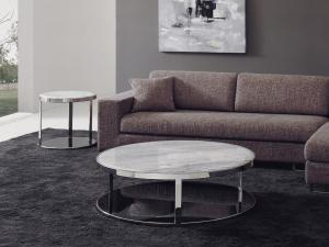 Quality White Round Marble Coffee Tables , Living Room Coffee Table Set , Luxury stone for sale