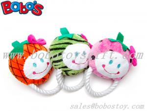 China High Quanlity Colorful Plush Fruit Shape Pet Dog Toy with Cotton Rope on sale