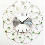 Marco redondo de Brown del metal del diámetro los 30cm con el reloj de pared de plata del panel