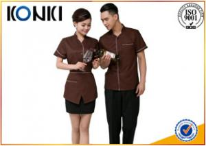 China Custom Color Restaurant Staff Uniforms For Waitresses Side Open on sale
