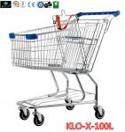 La carretilla portátil de las compras del supermercado del ultramarinos de la laminación Carts el cinc plateado