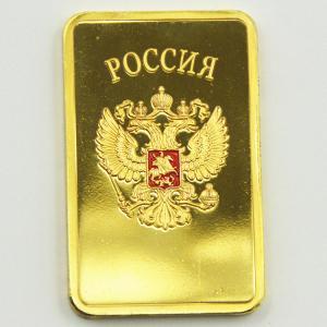 China USSR Soviet National Emblem CCCP 24k Gold Plated Bullion Bar Russian Commemorative Souvenir Coin Metal Decoration Gift on sale