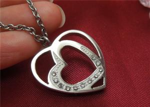 China Unique Stainless Steel Pendant Necklace , Double Heart Pendant Necklace For Couple on sale