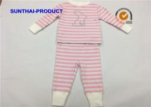 China Pink Stripe AOP Baby Girl Sleepwear Sets Size Customized For Autumn / Winter on sale