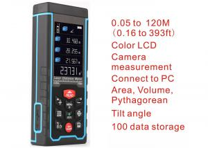 China 120m Laser distance meter Range finder outdoor W-camera rechargeable battery Color LCD laser tape measure Area/volume on sale