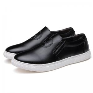 China ODM Brand Mens Slip On Leather Sneakers Black / Brown Leather With White Out Sole on sale