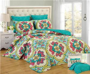 China Reversible 6pcs Comforter Set Printed Floral Bedding Set Printed Comforter Set with Laundry bag on sale