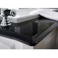 Black Glossy Natural Quartz Stone Countertops For Kitchen Table
