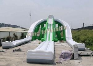 China Giant Green Exciting Trippo Inflatable Water Slide With 3 Lane For Adult on sale