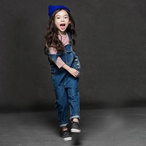 China British Style Girls Denim Overalls Size 8 , Super Soft Fabric Kids Jeans Jumpsuit on sale