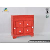 China Red Cabinet Shaped Jewelry Gift Boxes With Large Capacity Jewelry Storage on sale