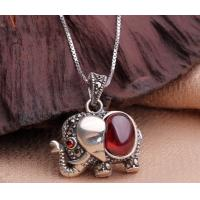 China Sterling silver chain necklace, garnet gemstone necklace, elephant pendant necklace on sale