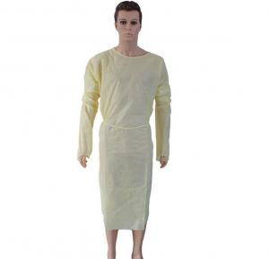 China Polypropylene Yellow Disposable Isolation Gowns Medical Accessories S-5XL on sale