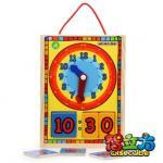 質および安い幼児期の時間意識の黄色のBasswoodの合板の教育おもちゃ