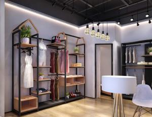 China Freestanding Clothing Display Racks Clothing Store Displays Metal / MDF Material on sale