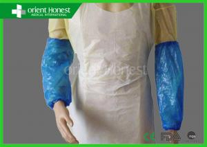 China PE Blue Disposable Arm Sleeves With Elastic Ends , 18 Inches Length on sale