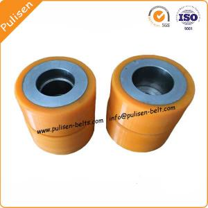China High Strength Polyurethane Rubber PU Coating conveyor Roller urethane wheels on sale