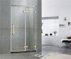 Golden Bronze Inline Frameless Corner Shower Doors 10mm Tempered