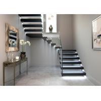 Solid Oak Wood Treads Building Floating Stairs With Tempered Glass Railing
