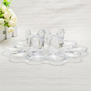 China Kitchen use egg holder clear glass egg holder with hen figurine home decor on sale