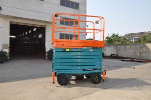 China 11 Meters Self-Propelled Mobile Scissor Lift , Mobile Manlift with Manganese Steel Lifting Arm on sale
