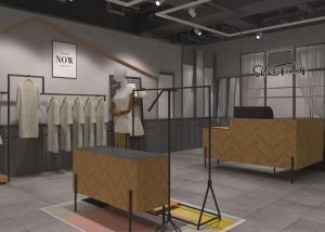 Quality Shopping Mall Garments Shop Display Fixtures With Hanging Rack And Shelf for sale