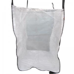 China Breathable Flat Bottom Vented Tonne Bags , Filling Spout Top One Ton Bulk Bags on sale