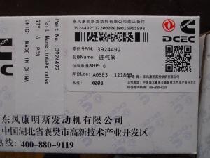 China CUMMINS INTAKE VALVE 3924492, CUMMINS 6CT8.3 Engine Valve,Dongfeng 6CT Intake Valve on sale