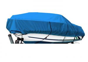 China 600 Denier Breathable Boat Cover Fits V - Hull Runabout Boats 24' To 26' Long Blue on sale