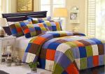 Hand Sewing Colorful Patchwork Twin Size Bed Sets 4 Pcs Machine Wash