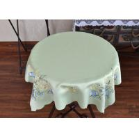 Chemical Fiber Light Green Table Cloth , Embroidered Square Table Cloths