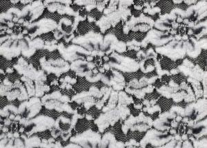 Quality White Flower Brushed Lace Stretchable , Rayon Nylon Spandex Fabric CY-LQ0003 for sale