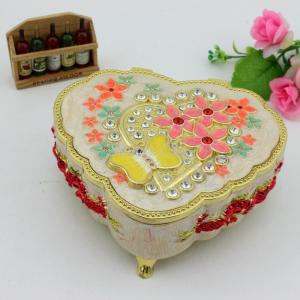 China Metal Enamel Music box Musical Jewelry Organizer Box for Valentine's Day Gift 2016 on sale