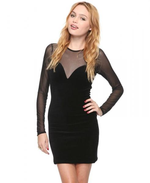 3a1aef28c7a9 Fitted Velvet Sexy Yonth Womens Club Dresses with Long Sleeve for ...