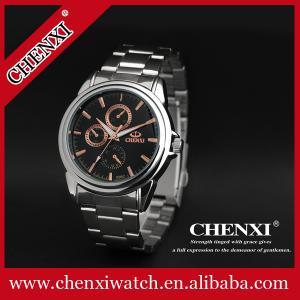 China Diales de la correa 3 del acero inoxidable del reloj de los hombres de lujo del estilo para el reloj masculino del cuarzo del reloj de oro de Rose de la decoración on sale