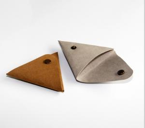 China Triangular Washable Kraft Paper Wallet Small Coin Purse With Button Closure on sale