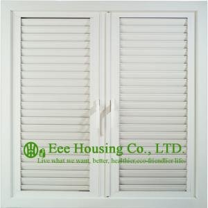 China UPVC Shutter casement window For Residential Home,White Color Profile Vinyl Louvers Window on sale