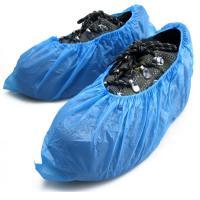 Elastic Sewn Non Slip Shoe Covers Disposable , Single Use Blue Plastic Overshoes