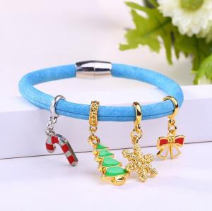 China silicone strap alloy pendant bracelet&bangle bluce bracelet blue bangle with alloy pendant on sale