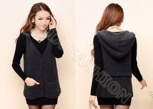 China Womens Wool Sweaters With Hood V Neck Black Buttons Up Sleeveless Cardigan on sale