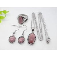 Light Pink Oval Murano Glass Stainless Steel Jewelry Set 1900012
