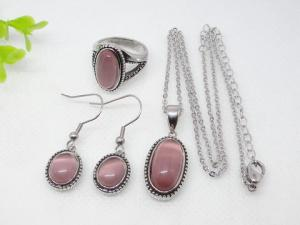 China Light Pink Oval Murano Glass Stainless Steel Jewelry Set 1900012 on sale