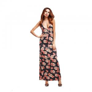 China O52282 Halter Sunflower Ladies Casual Beach Dresses Printed Maxi Cocktail Dress on sale