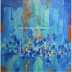 China Abstract Cityscape Painting On Canvas , Framed Oil Paintings For Modern House Decorative on sale